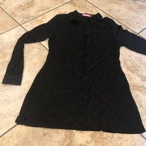 Isaac Mizrahi black buttonup black floralcardigan